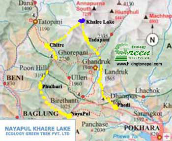 Map of Annapurna Khaire Lake Trek