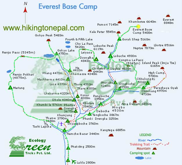 Map of Everest Three Col Trekking