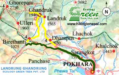 Map of Ghandrung Landrung Trekking
