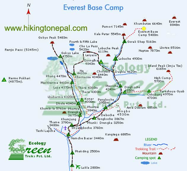 Map of Gokyo Kalapathar Trek