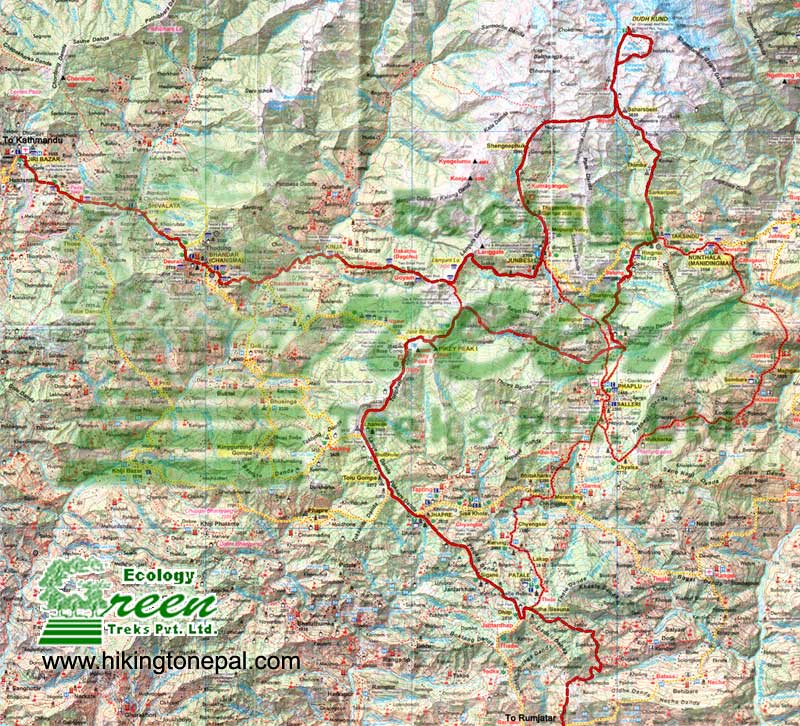 Map of Pikey Peak Trekking from Jiri