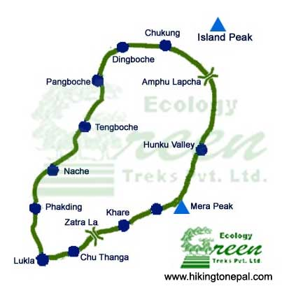 Map of Mera  Amphulaptsa Trek