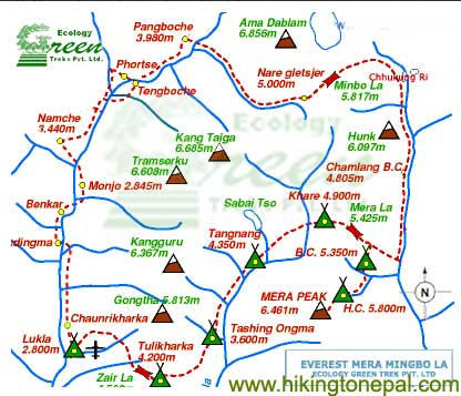 Map of Mera Mingbo La Peak Climbing