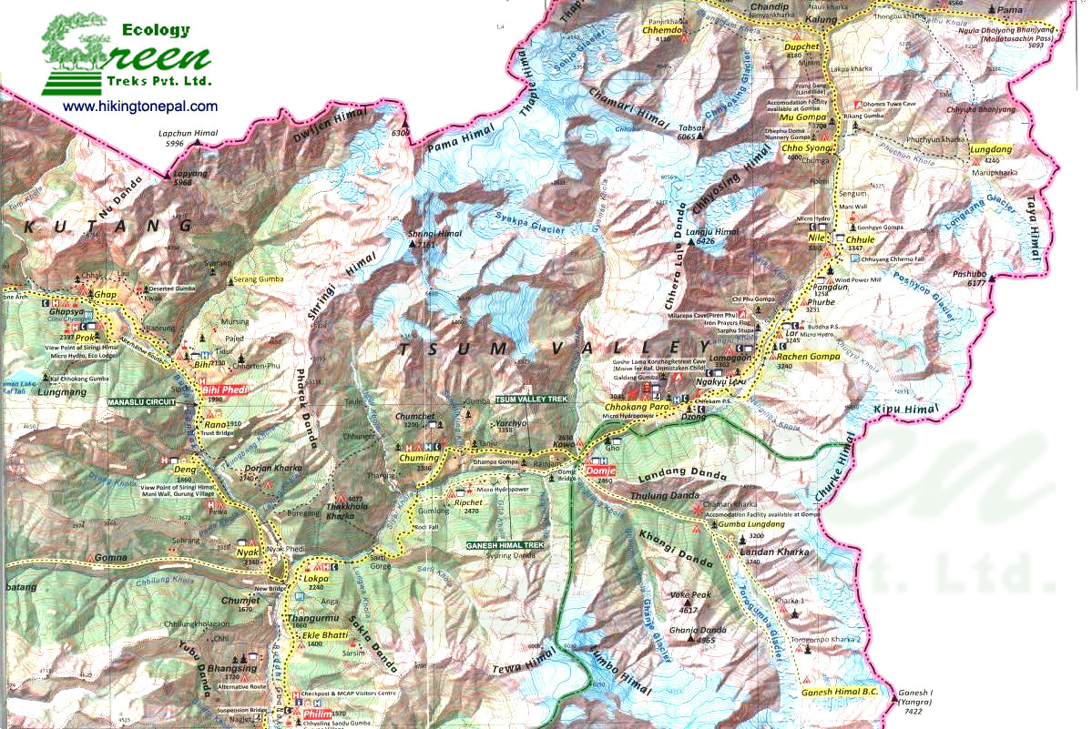 Map of Tsum Valley Trek